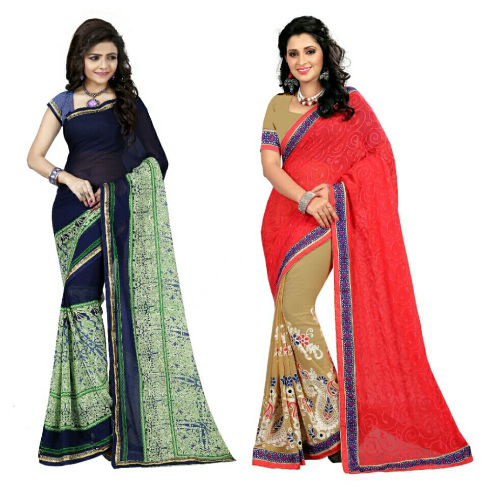 ARSH IMPEX Multicoloured Georgette Saree Combos