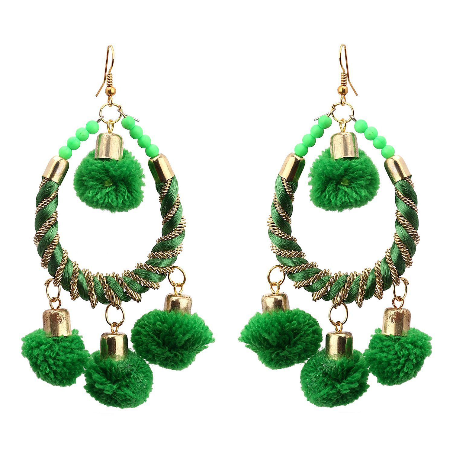 Sanjog Green Festive Earring For Girls Women(Light Weight)