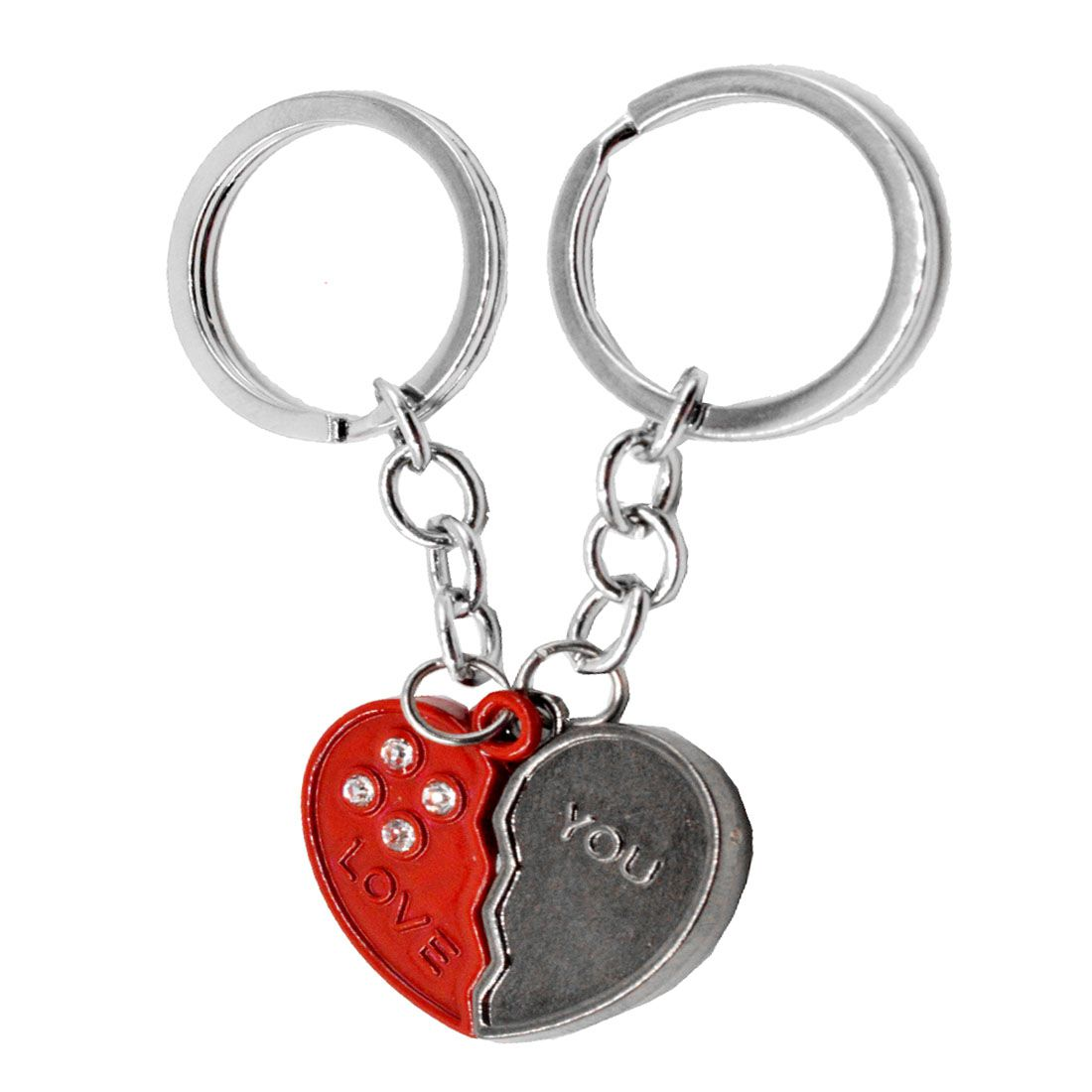 Faynci High Quality Couple Souvenir with stone gift Key chain for Valentine Day