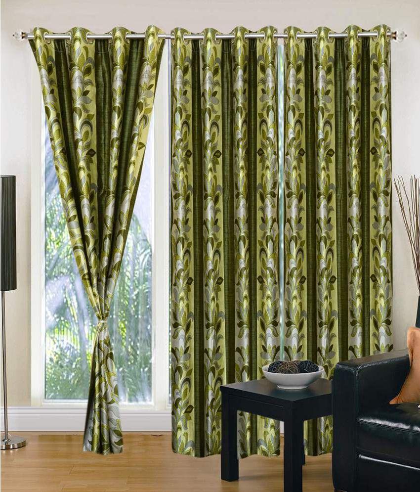 Shri Shyam Furnishing Set of 3 Window Eyelet Curtains Floral Green