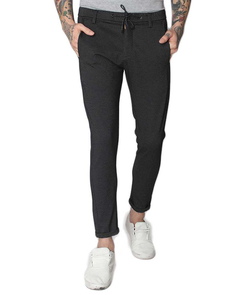 Status Quo Black Slim -Fit Flat Trousers