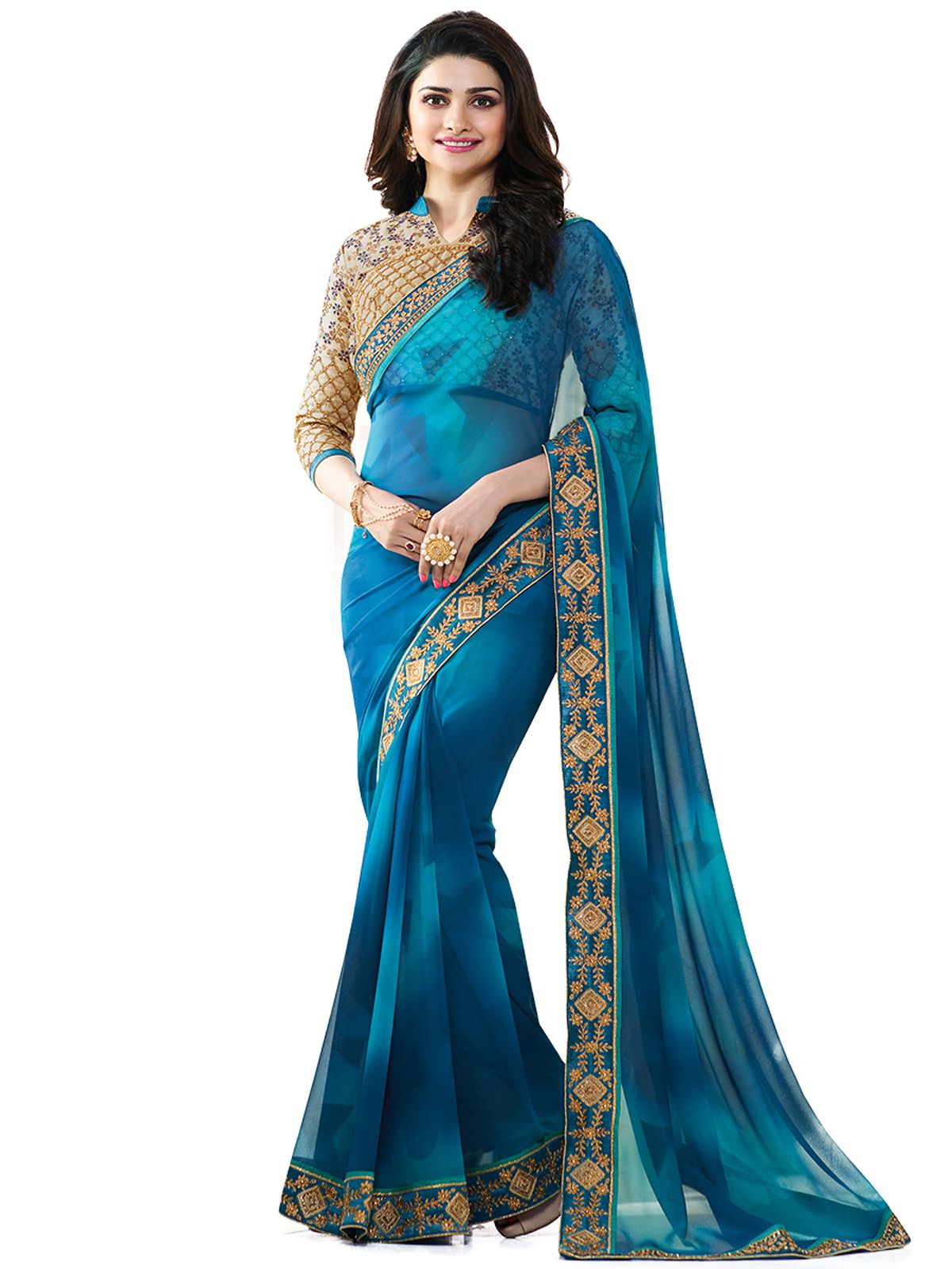 Home Deal Blue Georgette Saree
