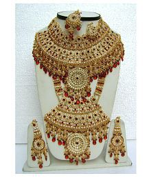 Hand Crafted High Quality Gold Plated Zircon Stone Studded Wedding Bridal Women Jewellery Set.