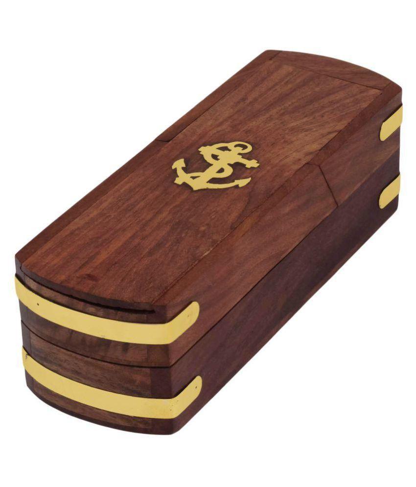 Craft Art India Brown Decorative Exclusive Wooden Pencil Pen Storage Box
