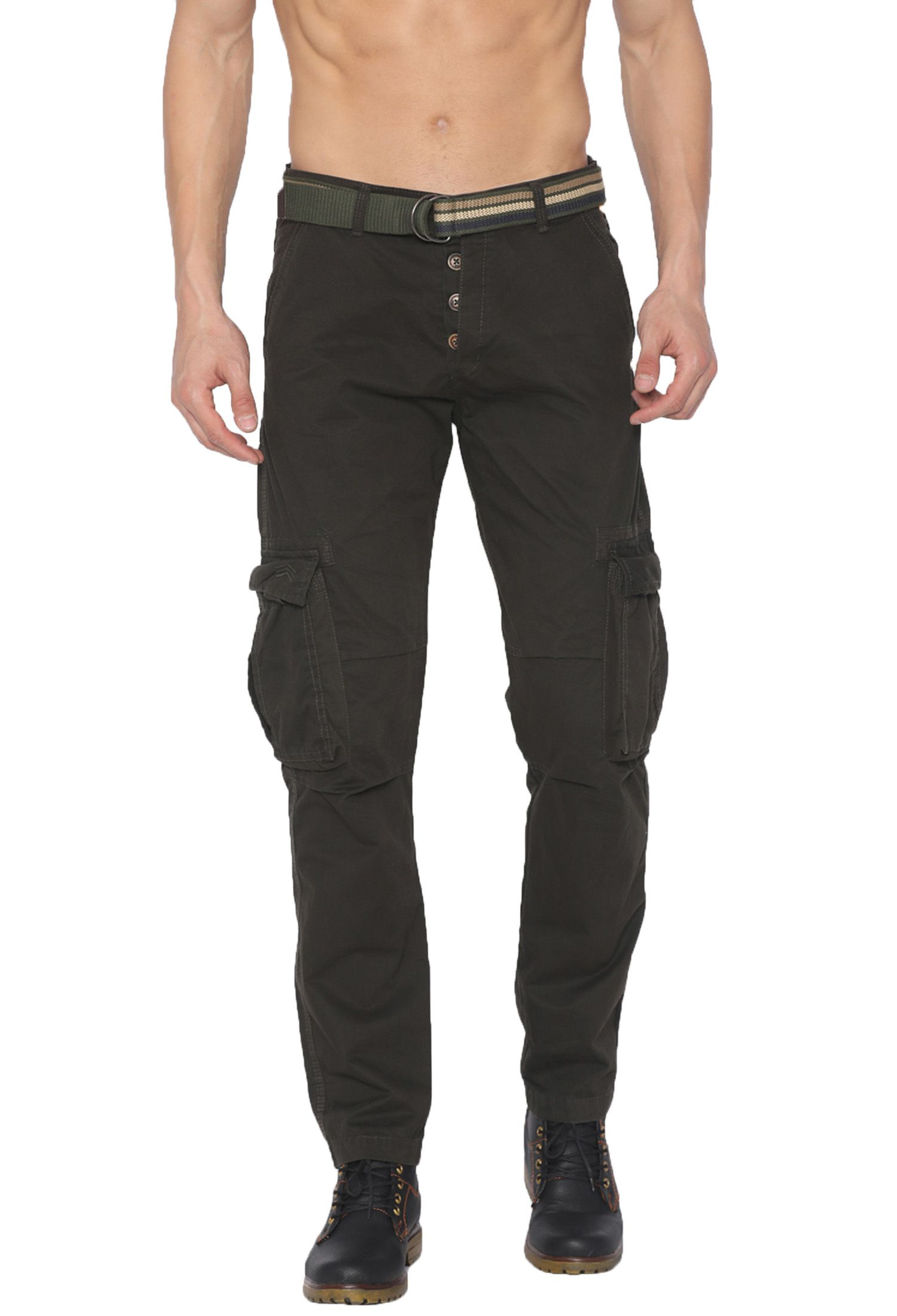 FIFTY TWO Green Regular -Fit Flat Cargos