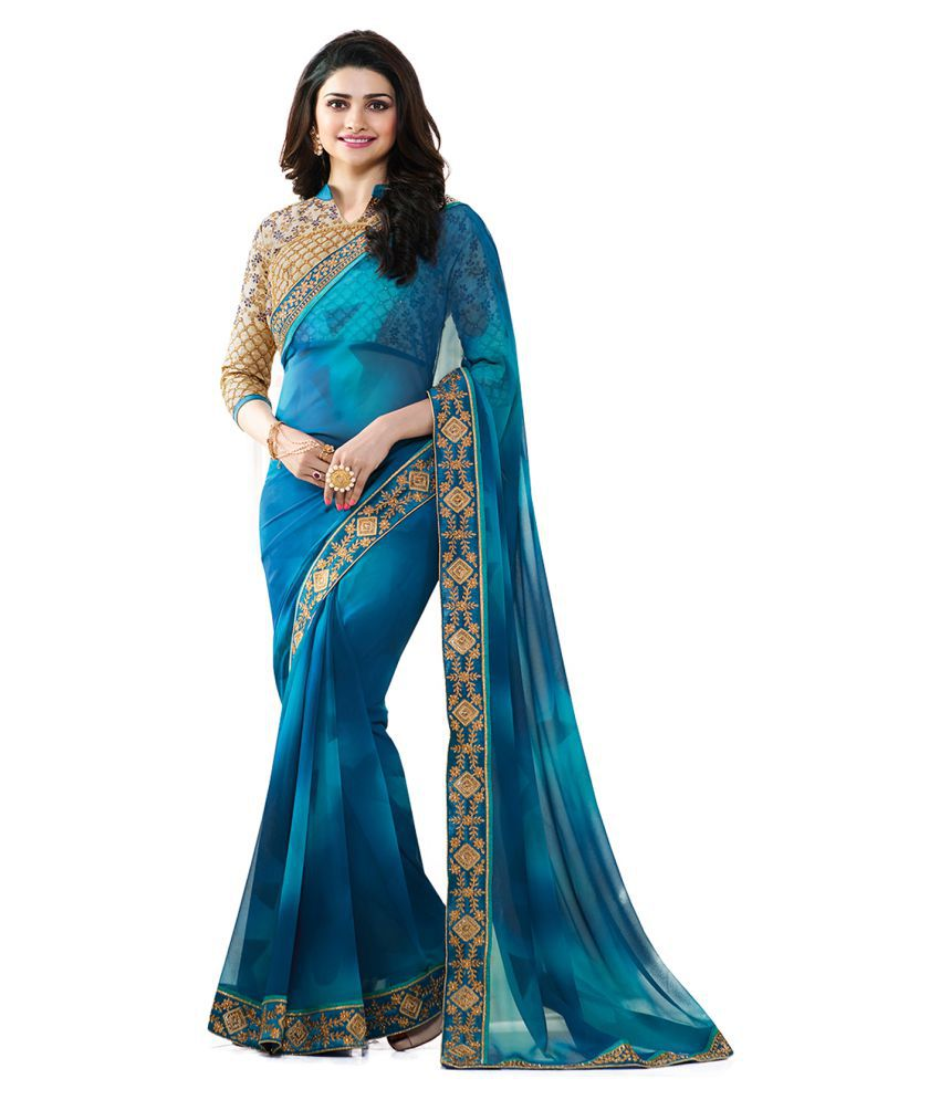 Hapani Fashion Blue Bangalore Silk Saree