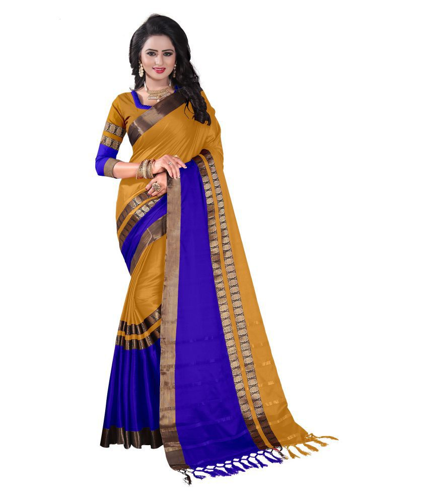 e6c61f481bb8b1 Ved Creation Yellow and Blue Cotton Saree - Buy Ved Creation Yellow and  Blue Cotton Saree Online at Low Price - Snapdeal.com