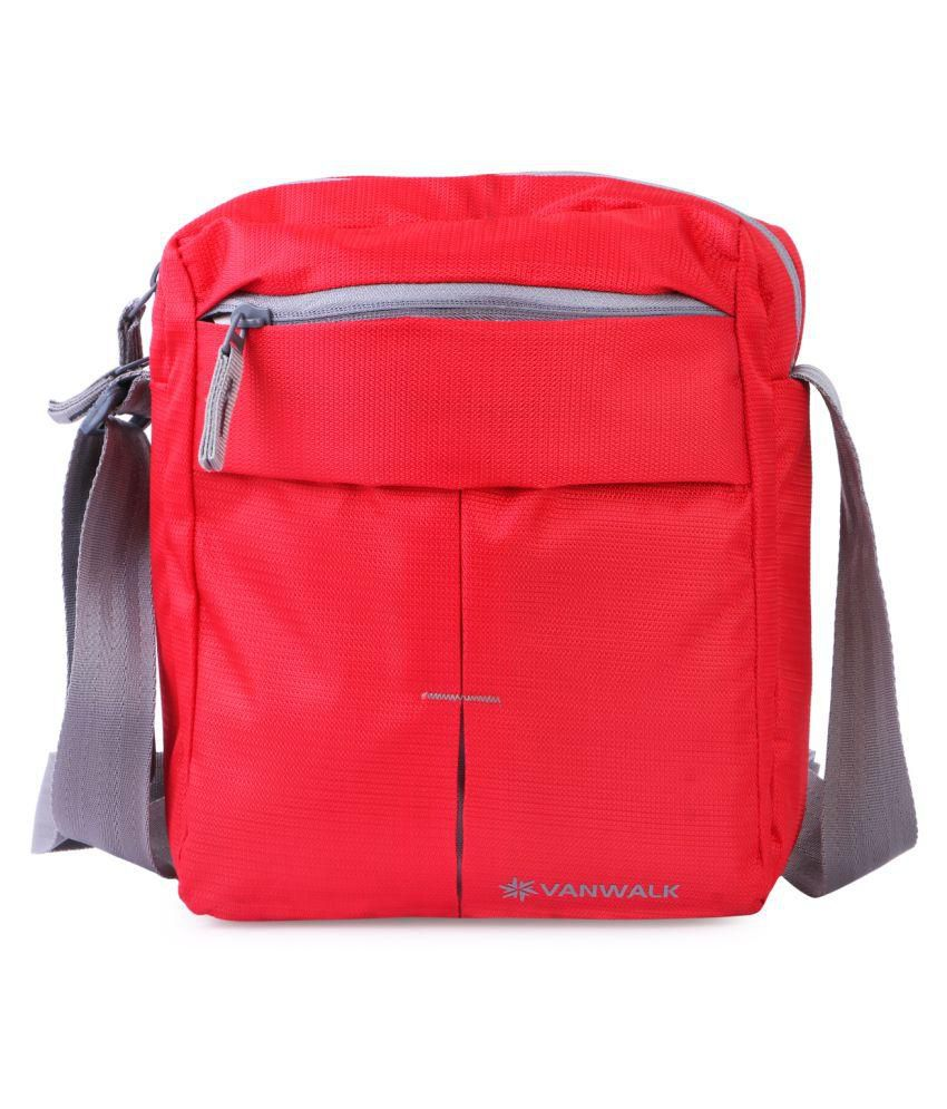 Vanwalk Red Men, Boys, Women, Girls Casual Nylon Unisex Sling Bag