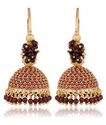 Artificial Golden Base Metal Purple Colour Bead Bali Earrings for Women