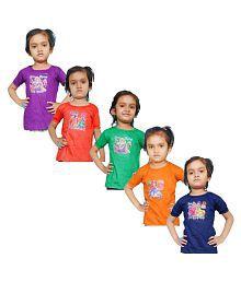 Jisha Fashion Girl'S Half Sleeves Round Neck Top (Pack Of 5)
