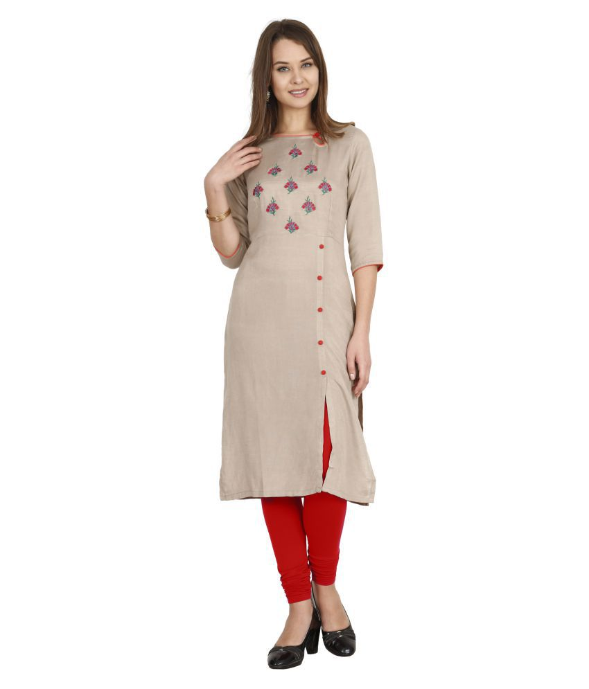 ALENA Brown Rayon Straight Kurti