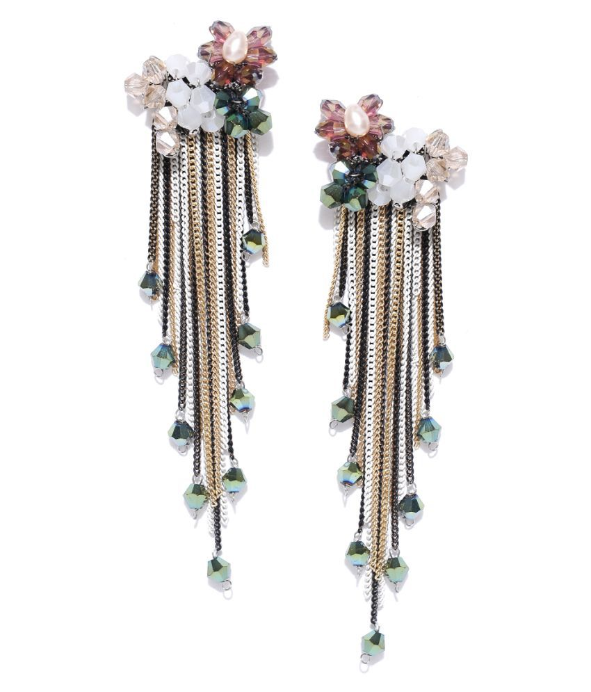 Jewels Galaxy Limited Editon Delicate Floral Design Mesmerizing Pair Of Colorful Onyx Tassel Earrings For Women/Girls