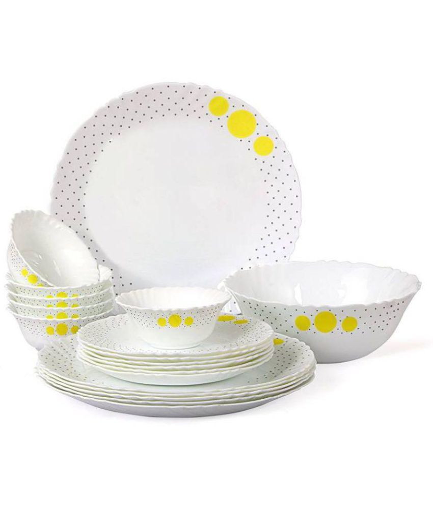 Cello Ware Imperial Polka Drops Opalware Dinner Set of 19 Pieces