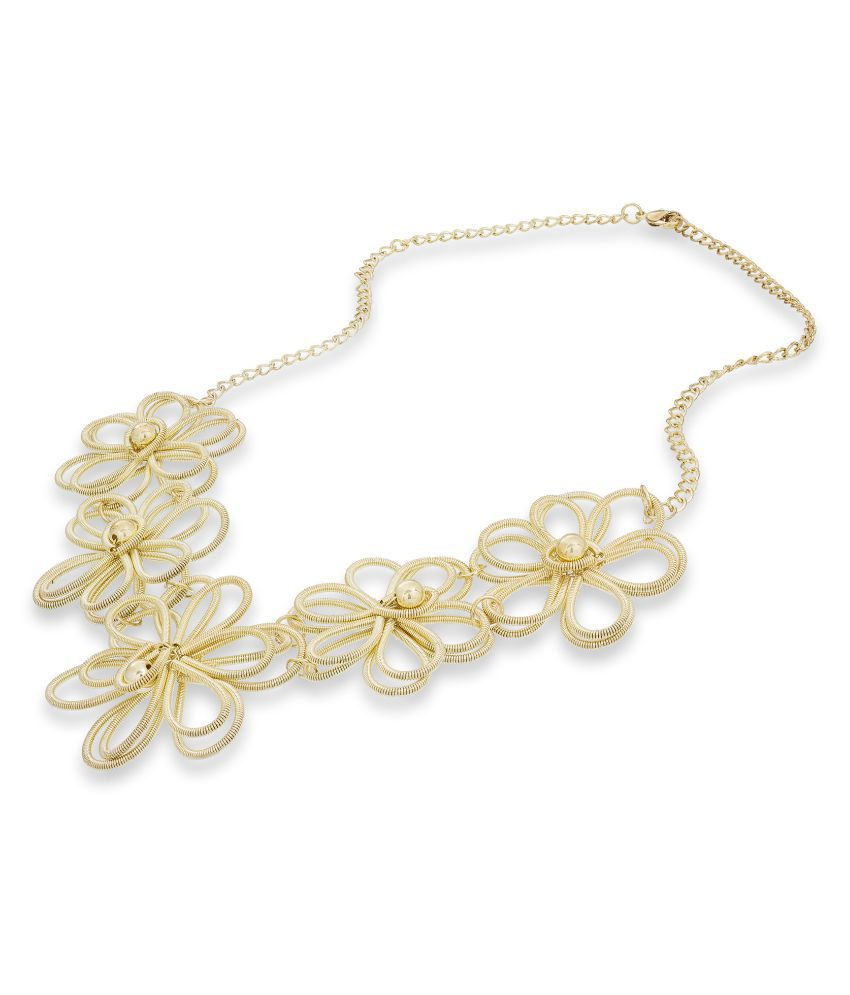 Aadita Stylish Party Wear Floral Gold Plated Necklace Jewellery for Girls and Women
