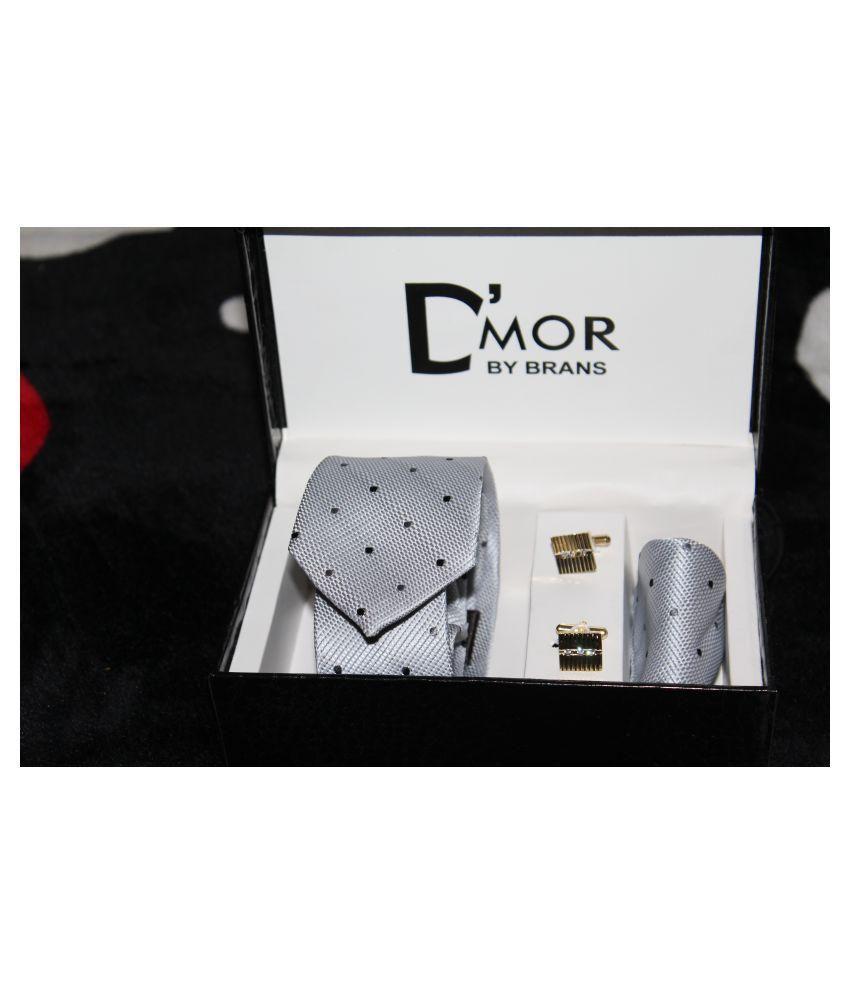 Dmor Gray Polka Dots Micro Fiber Necktie