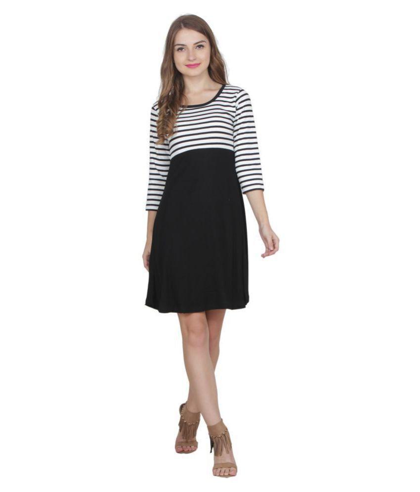 My Swag Cotton Lycra Black A- line Dress