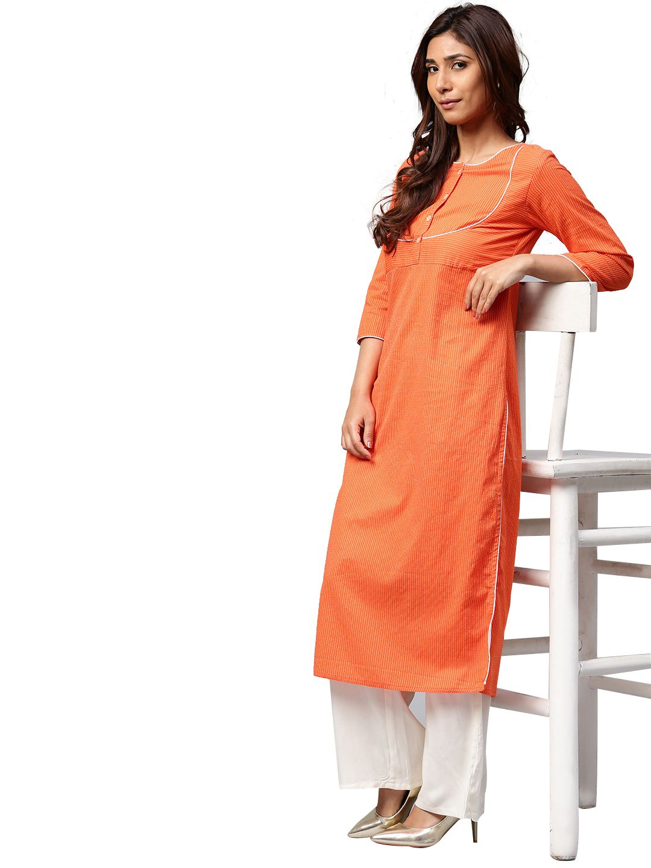 Jaipur Kurti Orange Cotton Straight Stitched Suit
