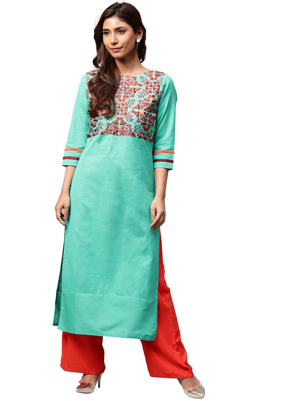 Jaipur Kurti Turquoise Cotton Straight Stitched Suit