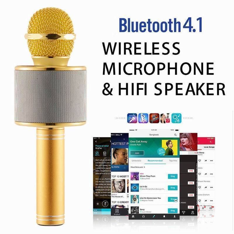 ROOQ WS858 Karaoke Gold Wireless Microphone