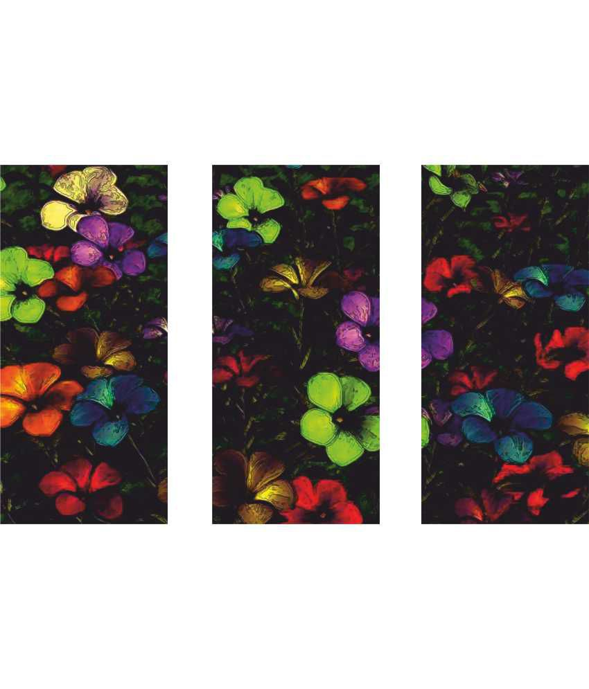 Anwesha's Black Floral 3 Frame Split Effect Digitally Printed Canvas Painting With Frame