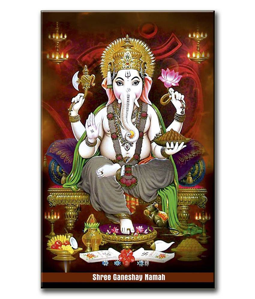 Anwesha's Gallery Wrapped Digitally Printed 12.5 X 20 Inch - Ganesh Canvas Painting With Frame
