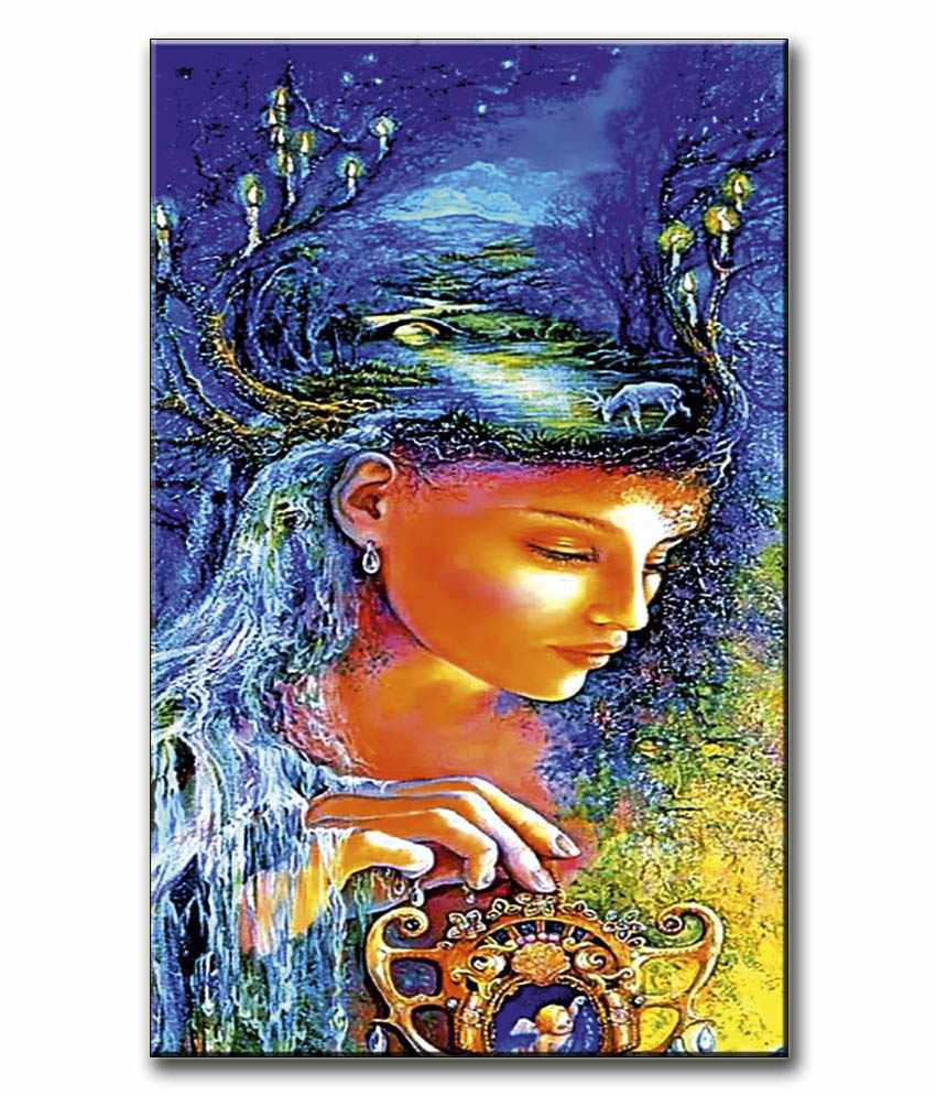 Anwesha's Gallery Wrapped Digitally Printed 12.5 X 20 Inch - Girl Art Canvas Painting With Frame