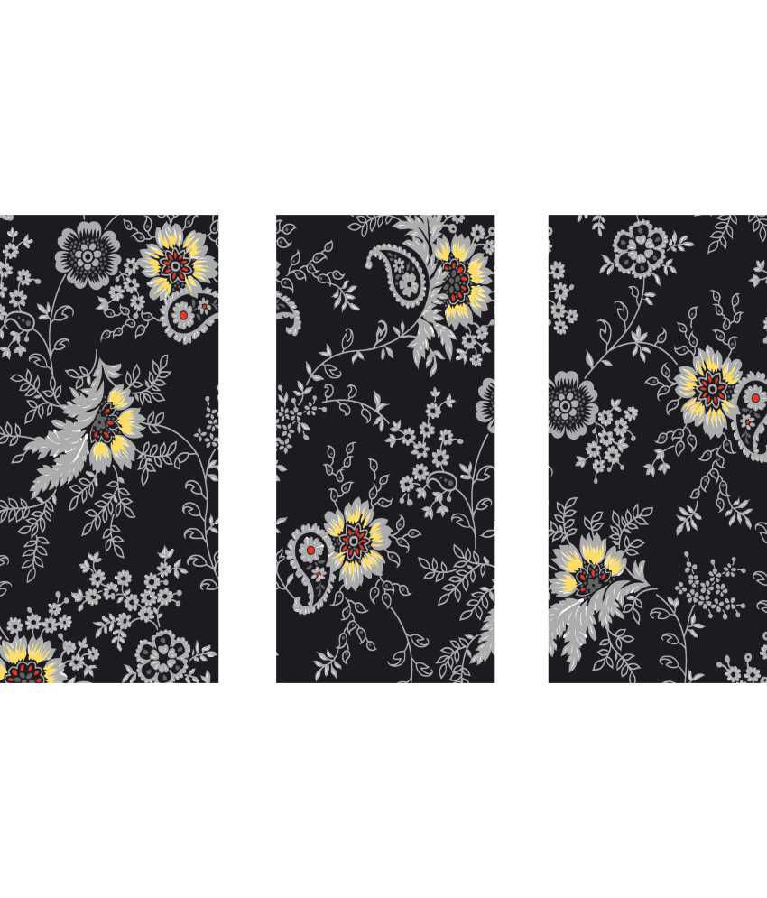 Anwesha's Gray Black Floral 3 Frame Split Effect Digitally Printed Canvas Painting With Frame