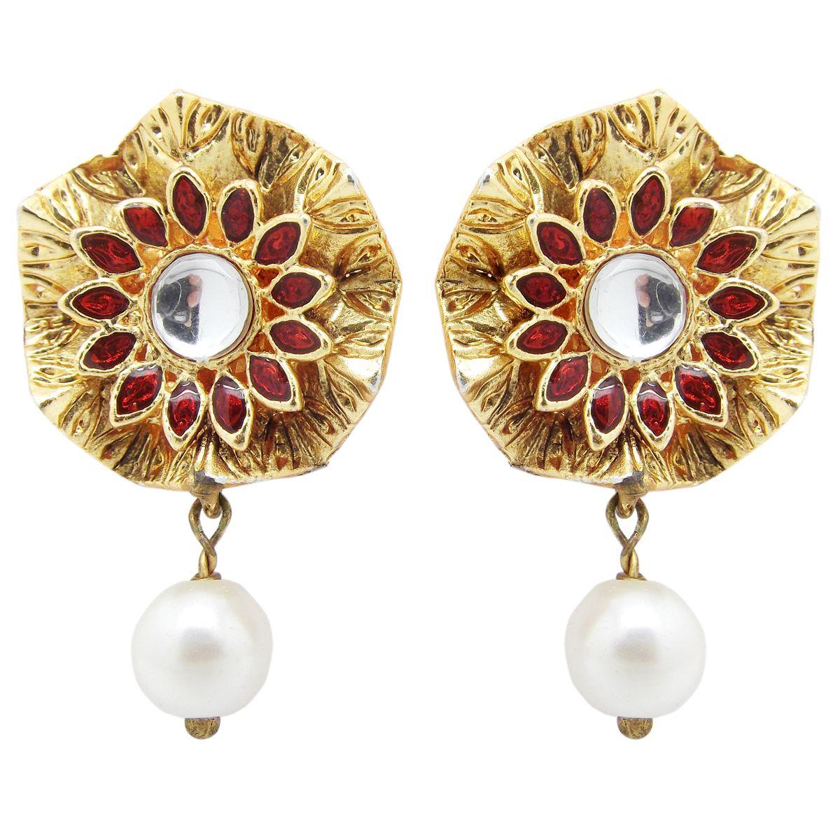 Biyu Delicate Kundan Meenakari Gold Plated Studs Earrings