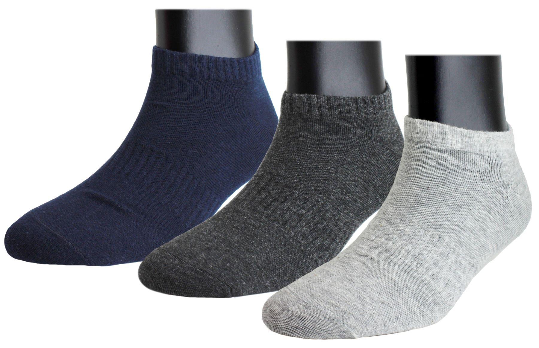 Neska Moda Premium Men  amp; Women 3 Pairs Cotton Ankle Length Socks Dark Blue,Grey
