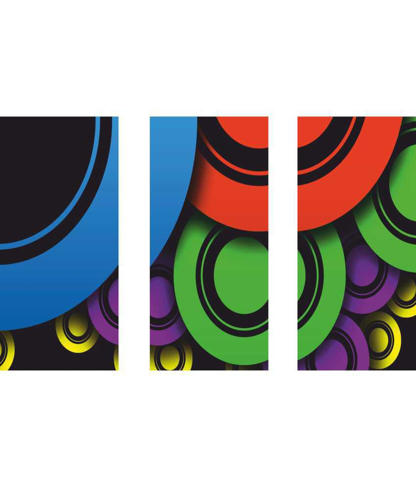 Anwesha's Colourful Circle 3 Frame Split Effect Digitally Printed Canvas Painting With Frame