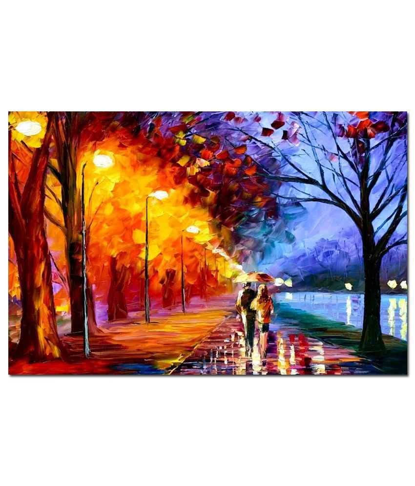 Anwesha's Gallery Wrapped Digitally Printed 30X20 Inch Awesome Water Colour Canvas Painting With Frame