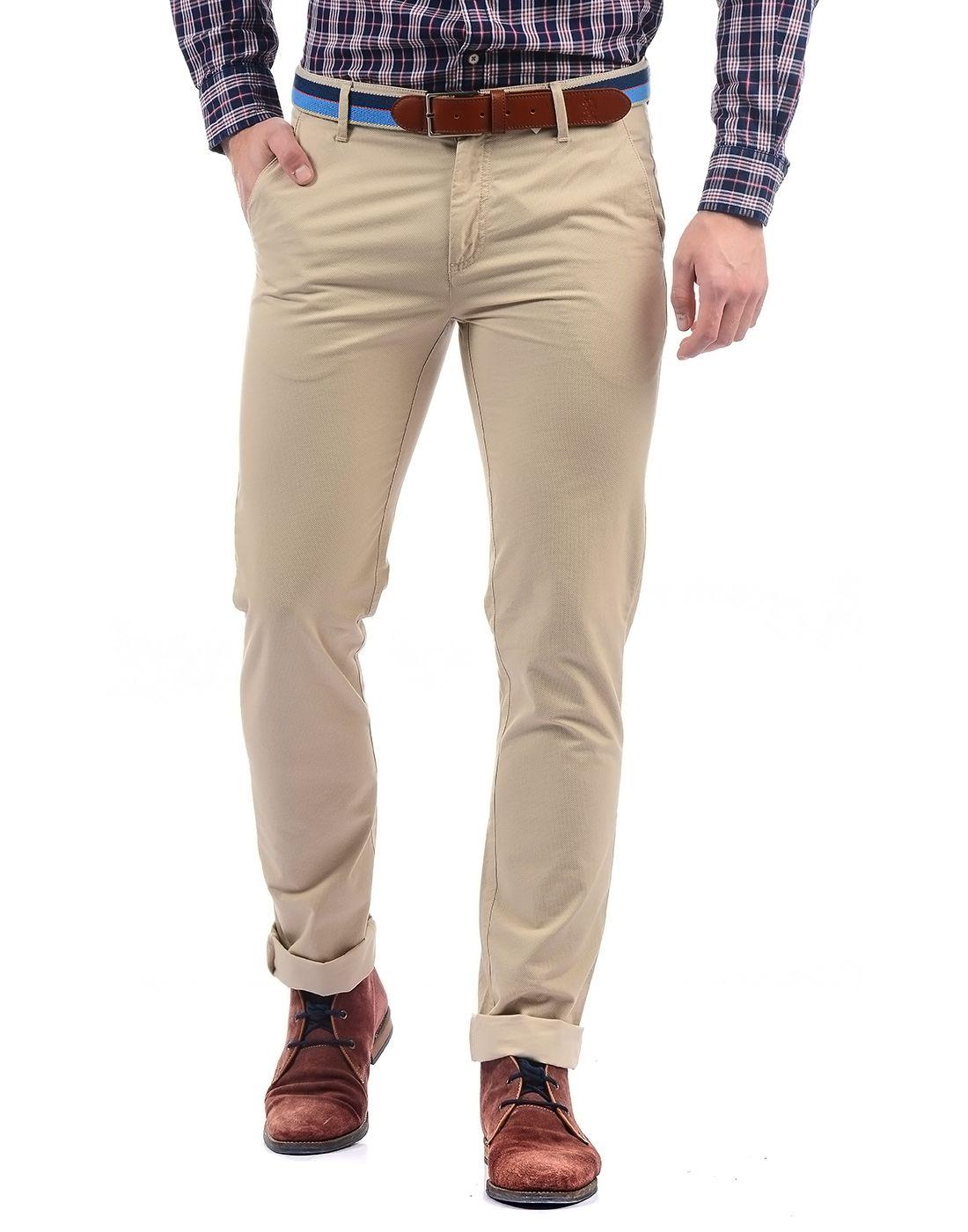 Arrow Beige Slim -Fit Flat Trousers