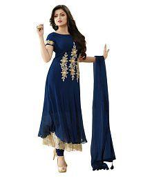 Anarkali Salwar Suits Blue Georgette Anarkali Semi-Stitched Suit