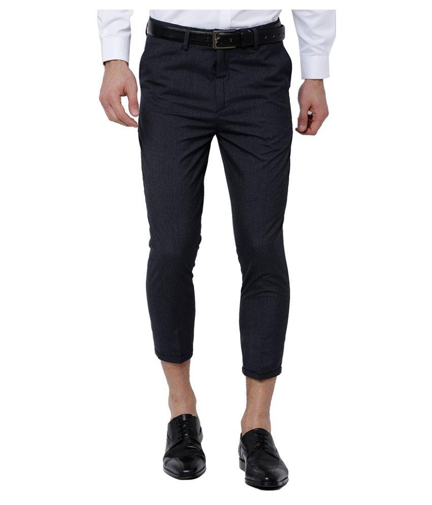 Black Coffee Navy Blue Slim -Fit Flat Trousers