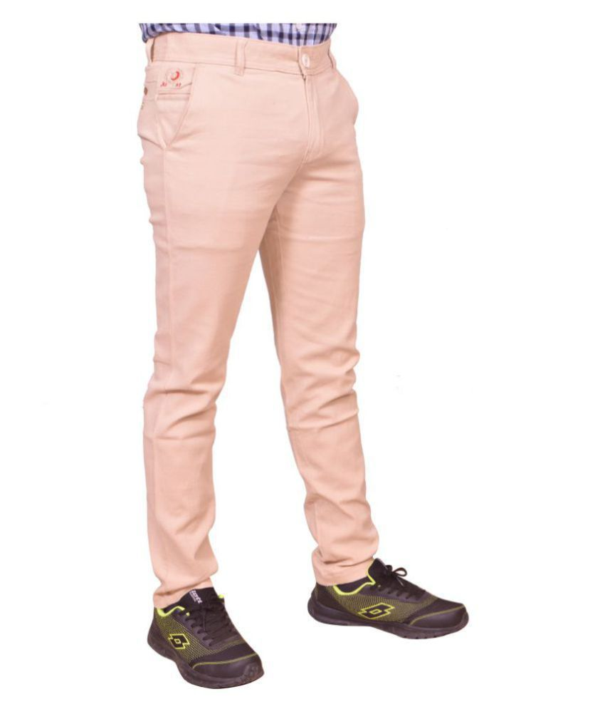 Just trousers peach regular fit flat chinos