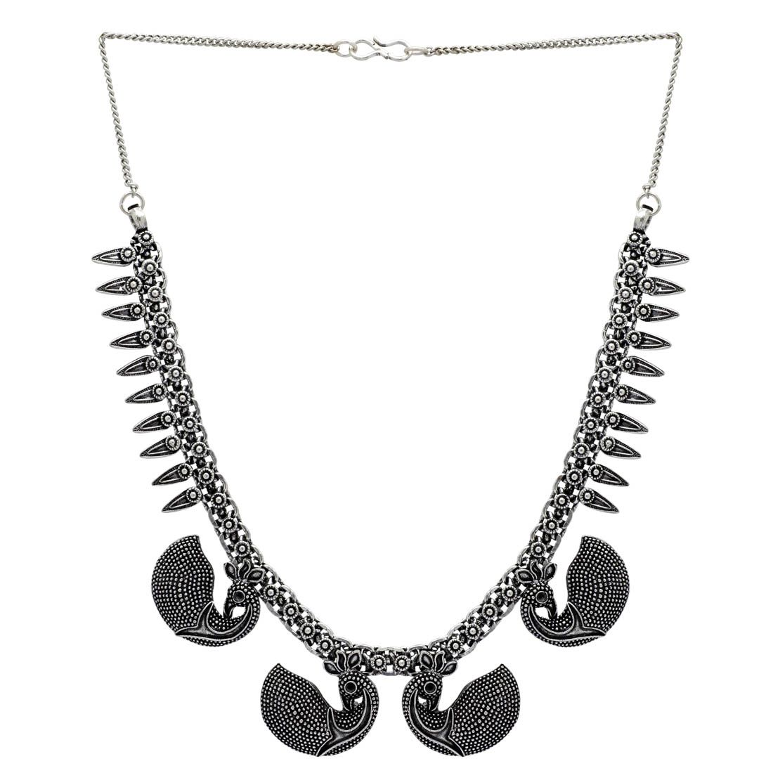 Silver Color Peacock Inspired Oxidised Necklace