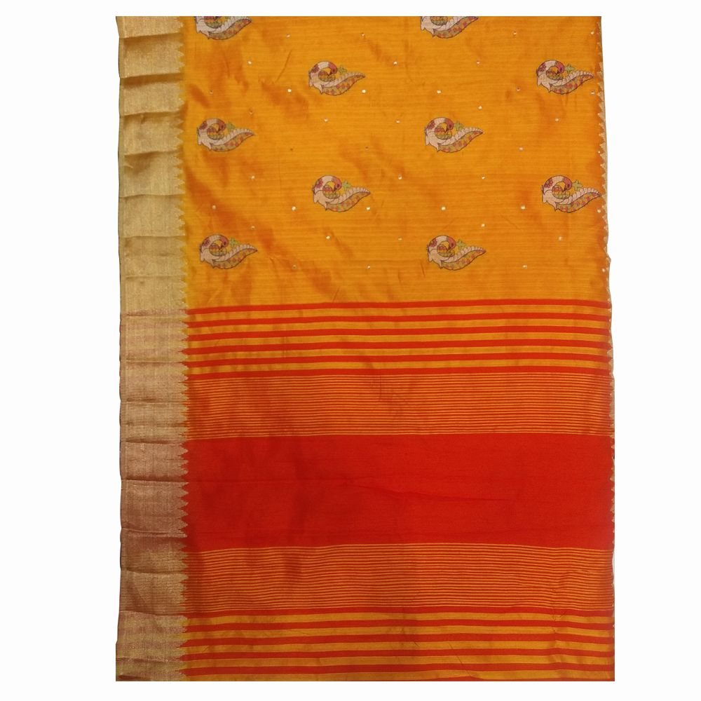 Abaranji Yellow and White Jute Saree
