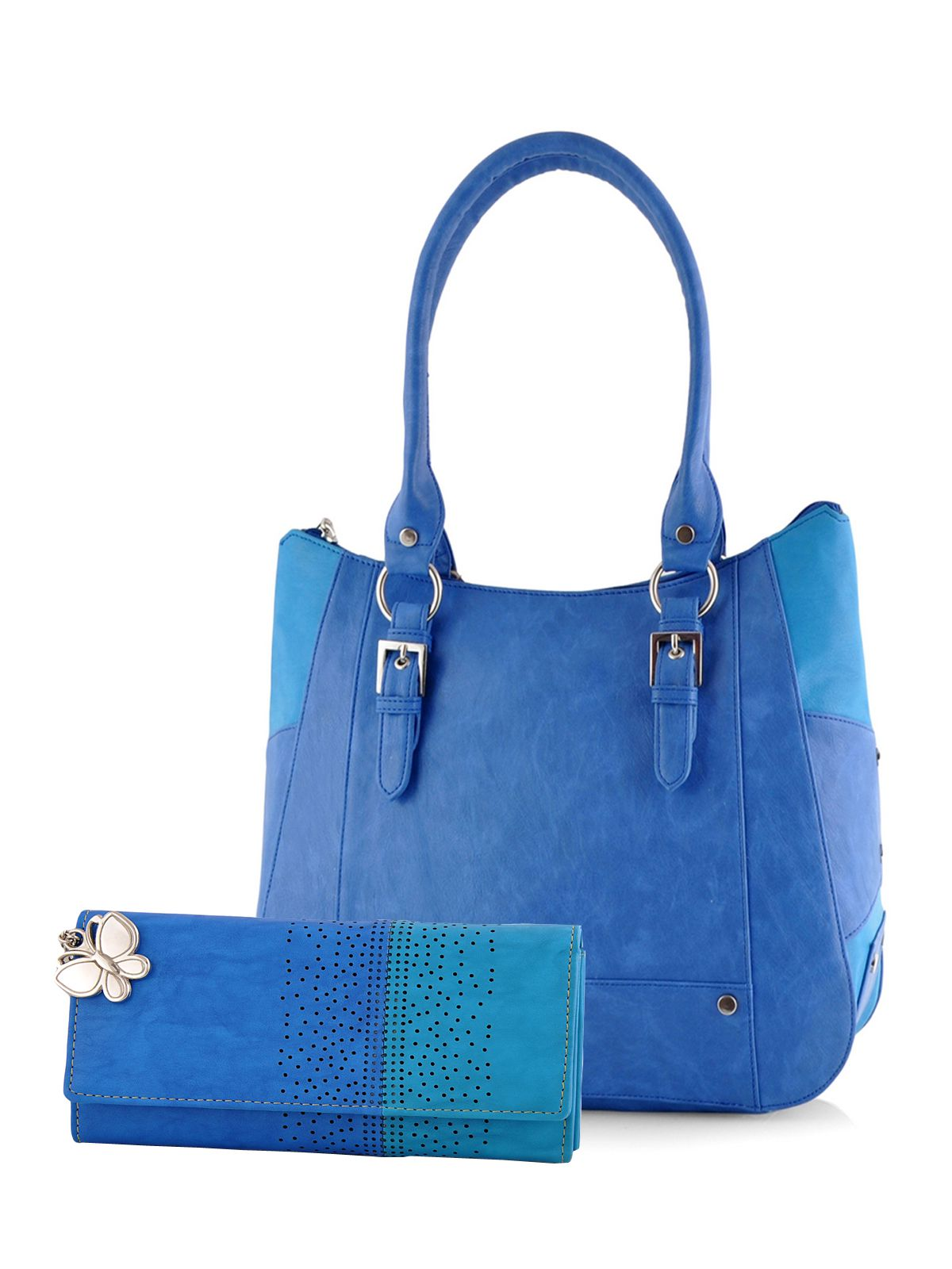 Butterflies Blue P.U. Shoulder Bag