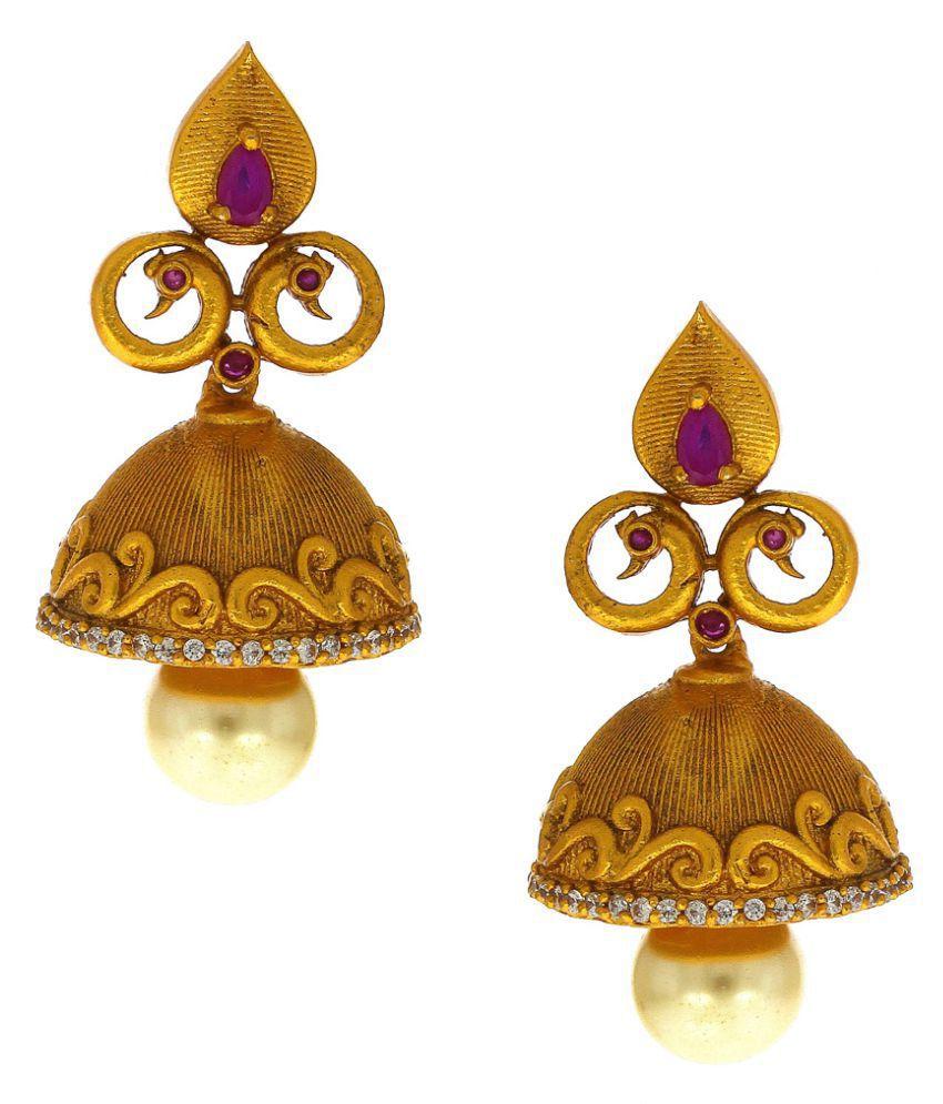 Anuradha Art Pink Colour Peacock Inspired Very Pretty Designer Traditional Jhumki/Jhumkas Earrings For Women/Girls