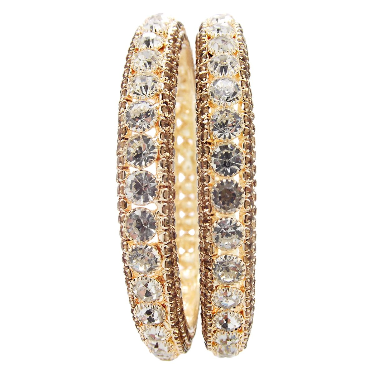 9blings Gold Plated Fancy Bangles 2pc LCT White CZ Stone