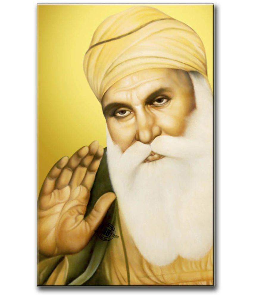 Anweshas Gallery Wrapped Digitally Printed 12.5 X 20 Inch - Guru Nanak Canvas Painting With Frame