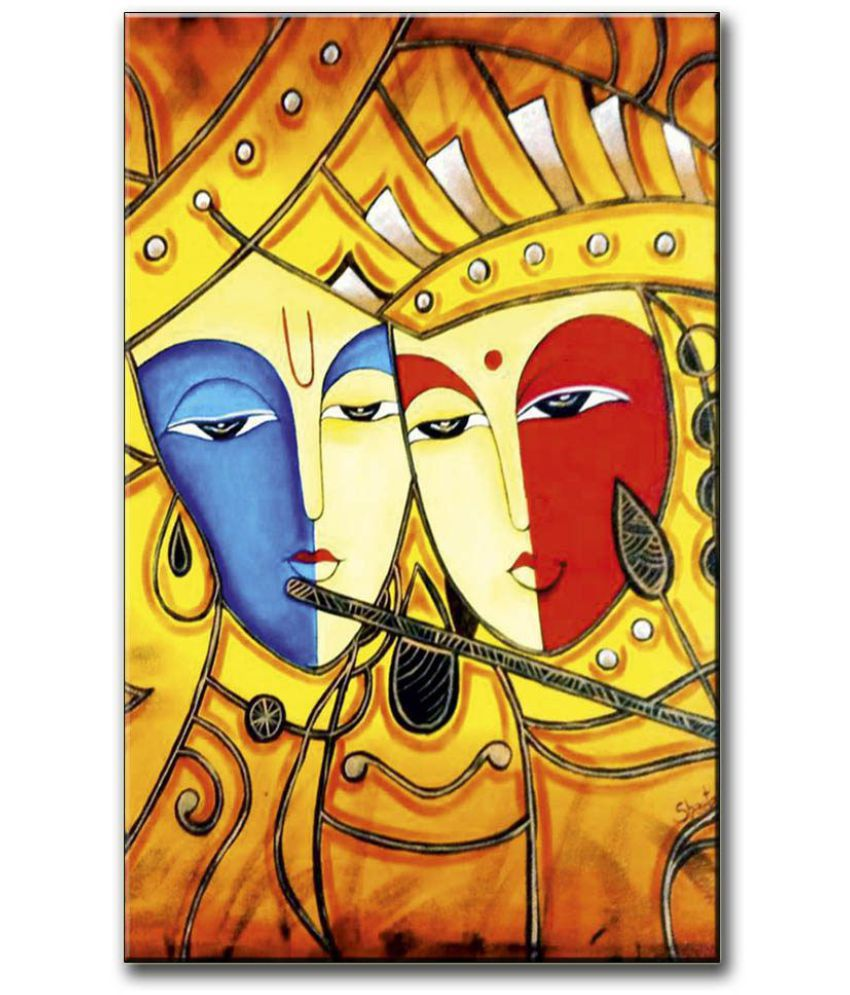 Anweshas Gallery Wrapped Digitally Printed 12.5 X 20 Inch - Radha Krishna Canvas Painting With Frame