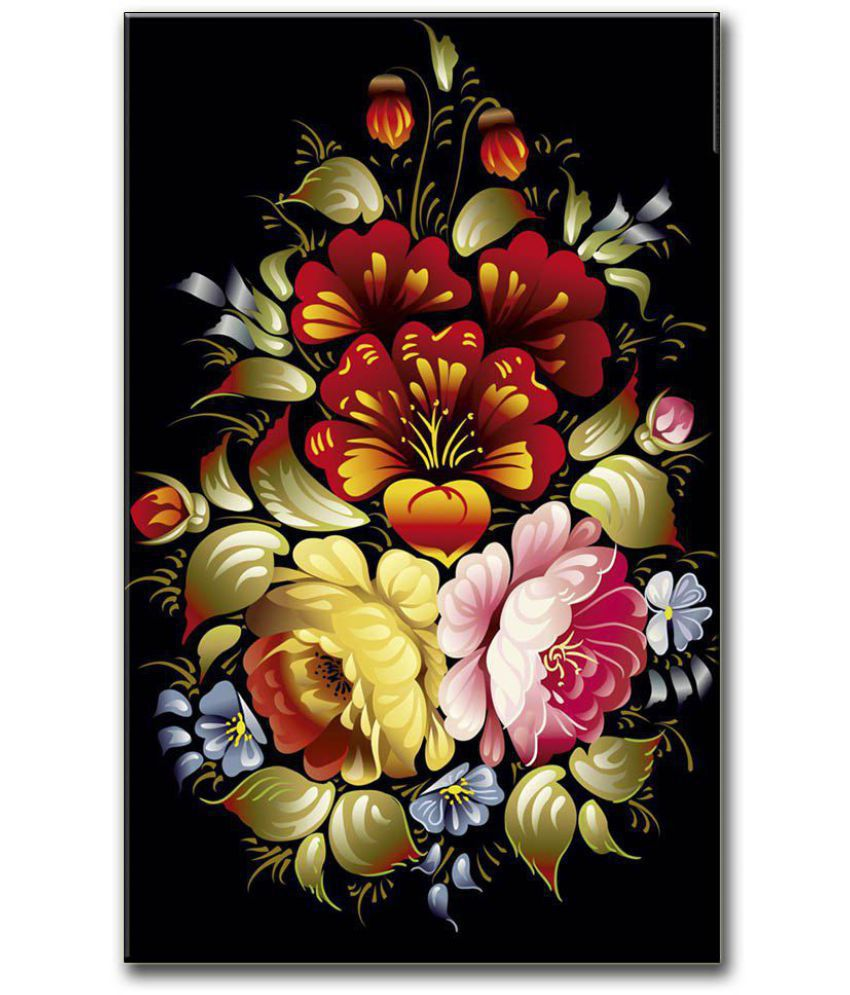 Anweshas Gallery Wrapped Digitally Printed 12.5 X 20 Inch - Flower Canvas Painting With Frame