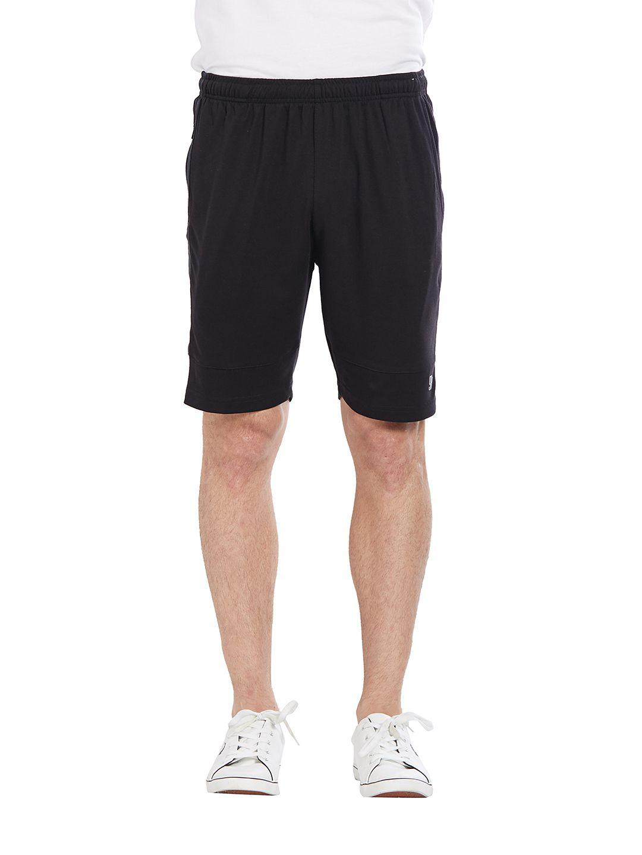 BONATY Black Blended Cotton Solid  Shorts For Men