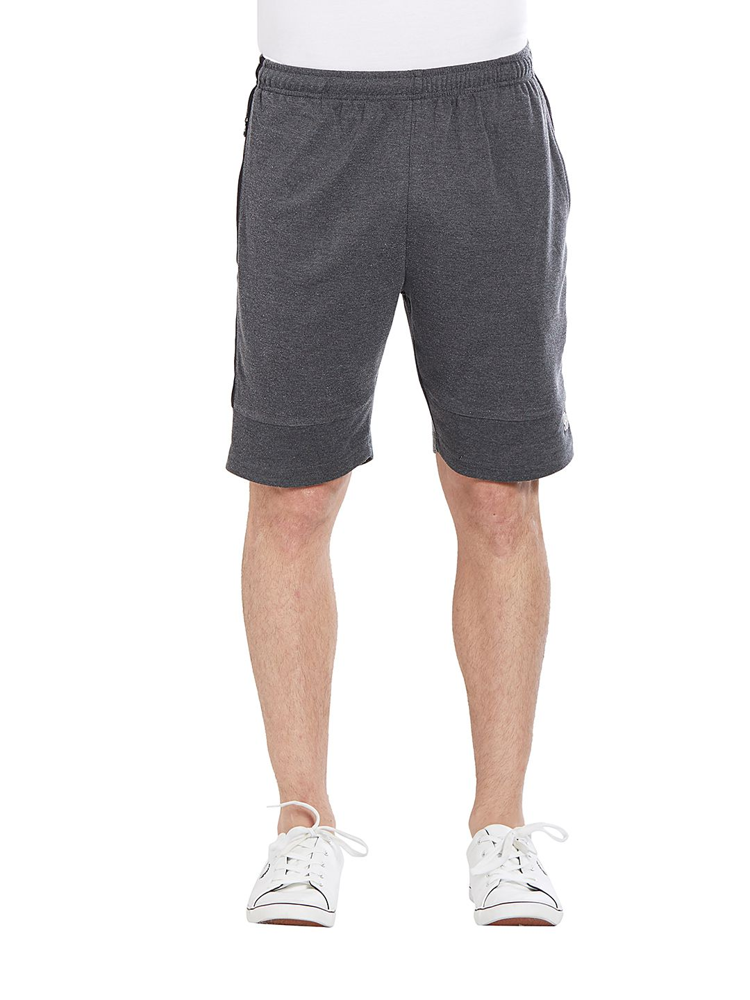 BONATY Dark Grey Blended Cotton Solid  Shorts For Men
