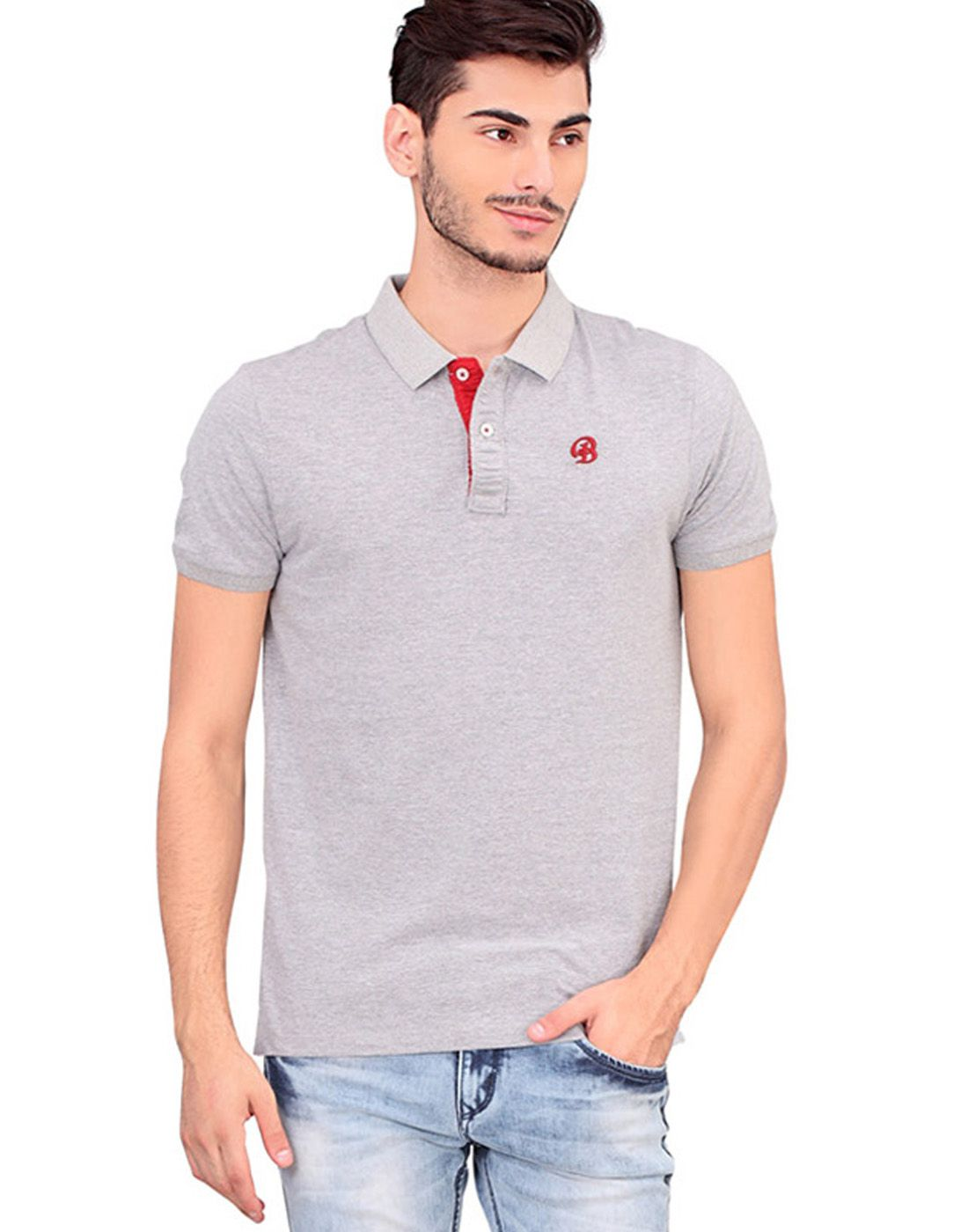 BONATY Grey 100% Cotton Peach Finish Polo Neck Solid T-Shirt For Men