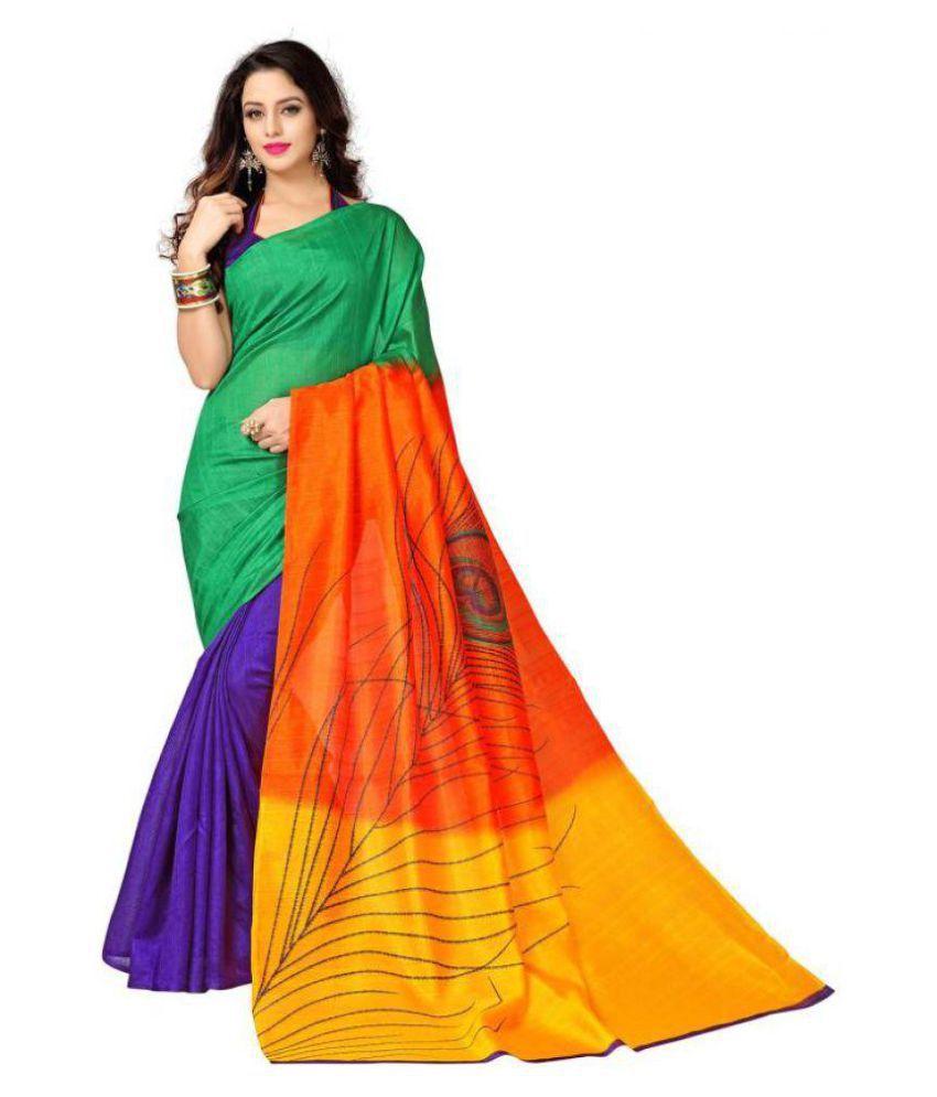 Adhruva Fashions Multicoloured Bhagalpuri Silk Saree