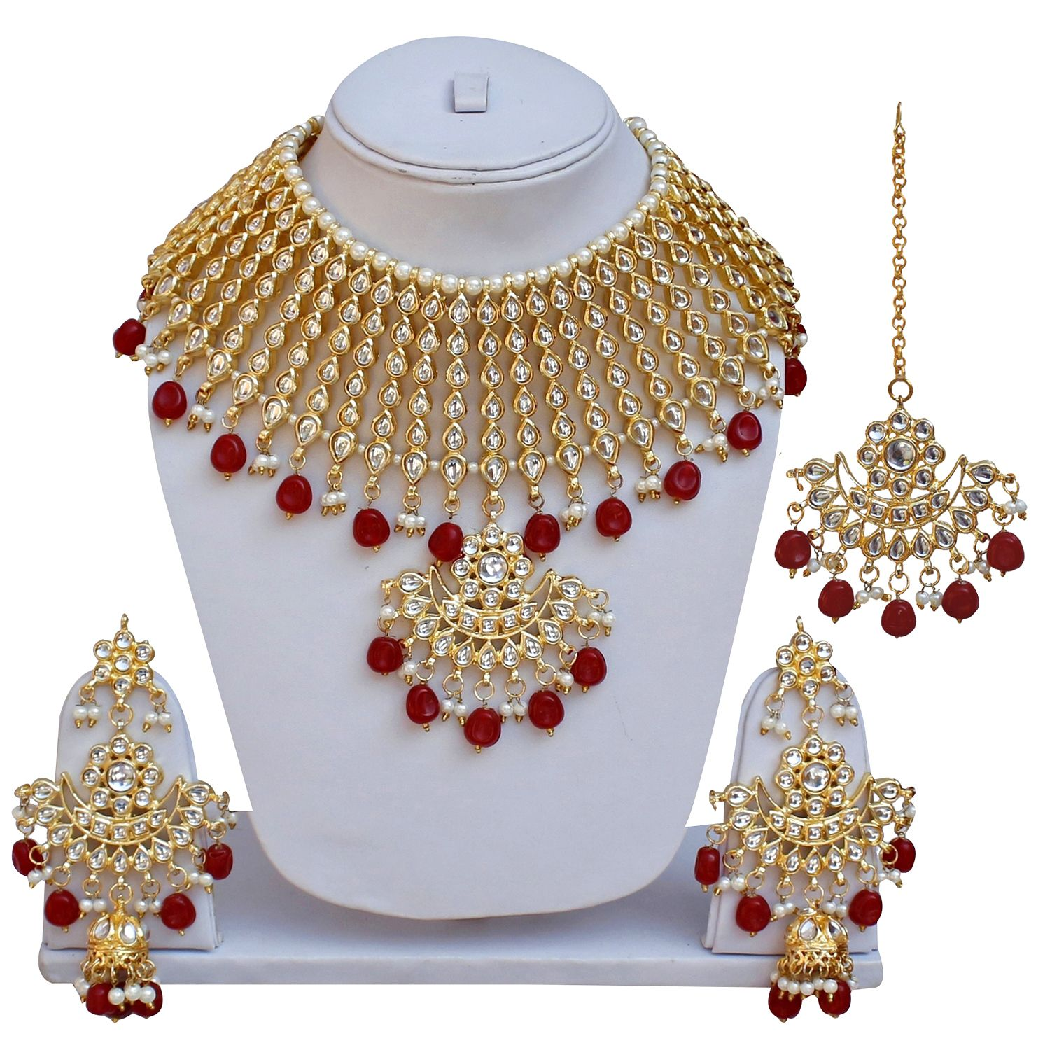 Lucky Jewellery Ethnic Maroon Color Gold Plated Pearl And Kundan Necklace Set For Girls & Women
