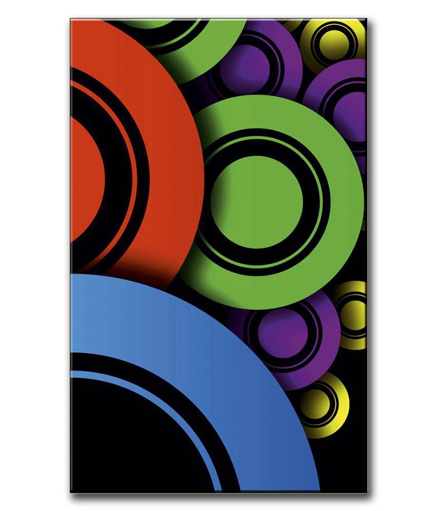 Anwesha's Gallery Wrapped Digitally Printed 12.5 X 20 Inch - Circles Canvas Painting With Frame