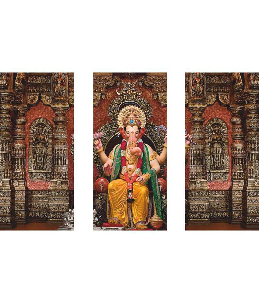 Anwesha's Lalbagh Ganpati 3 Frame Split Effect Digitally Printed Canvas Painting With Frame